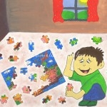 Acrylic - Boy Putting Together Puzzle