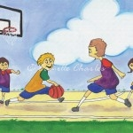 Acrylic and Colored Pencil - Kids Playing Basketball